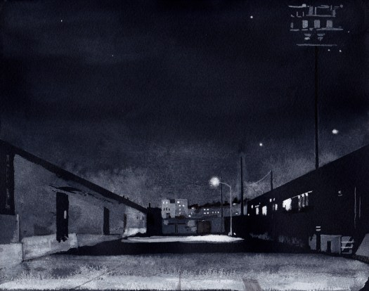 Nocturne: Anderson Street 2015 Ink and gouache on black Arches paper 8.5x11 inches