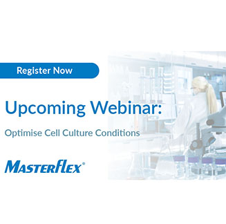 Banner image for Masterflex webinar for pumping live cells in biopharma applications