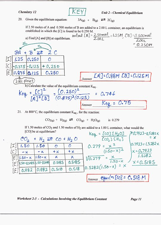 Chemistry Unit 6 Worksheet 3 Sharebrowse – Equilibrium Constant Worksheet