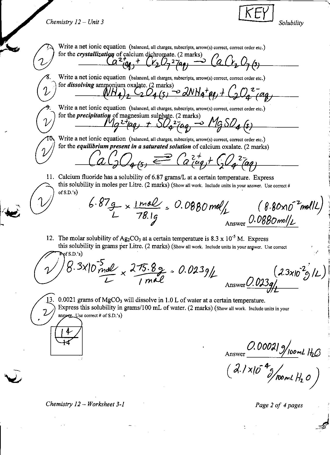 26 Chemistry Review Worksheet Answer Key