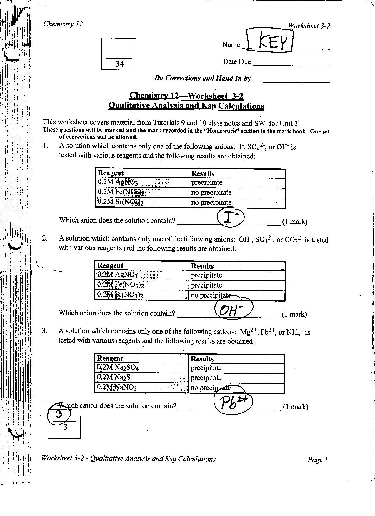 Solubility Worksheet Grade 4