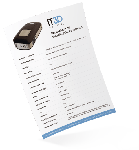 Ficha técnica PocketScan 3D - Scanner 3D portátil