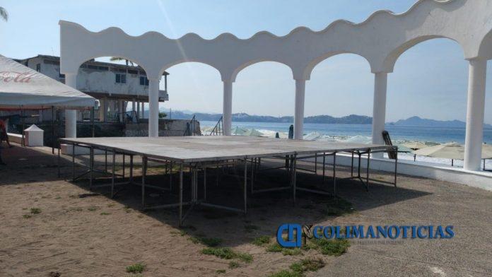 Tahitiana Fest3 696x392 - Alistan escenario para el 'Tahitiana Fest' en la playa de Miramar, en Manzanillo
