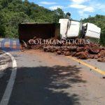 CAMION DE MATERIALES 150x150 - Camión materialista vuelca en la carretera Manzanillo-Minatitlán