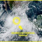 "depresión tropical 150x150 - ""Narda"" se debilita a Depresión Tropical pero se mantiene pronóstico de lluvias torrenciales"