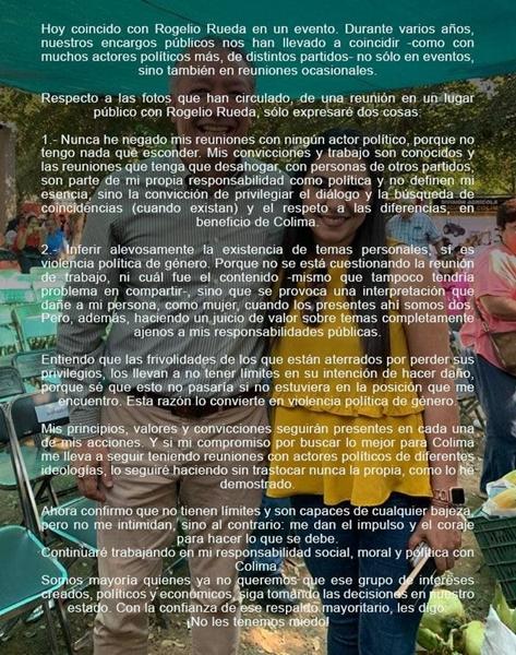 Indira Vizcaino y Rogelio Rueda - Indira Vizcaíno publica mensaje tras difusión de fotos con Rogelio Rueda