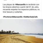 En fase 3 de pandemia, Ayto de Manzanillo anuncia apertura de playas el 01 de julio
