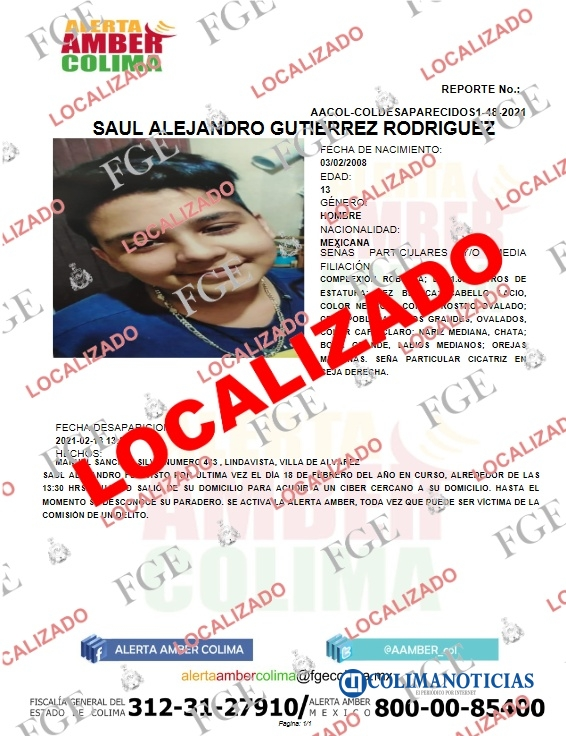 Localizan en Jalisco a menor de edad desaparecido en Colima