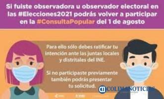 Convoca el INE a participar como observadores para la Consulta Popular