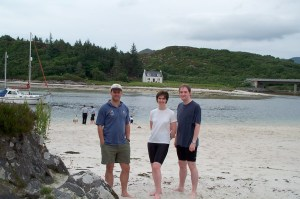 Alison, Andy and me, Morar Beach and house