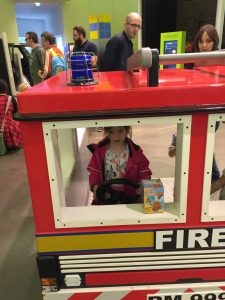 Fiona driving a Fire Engine