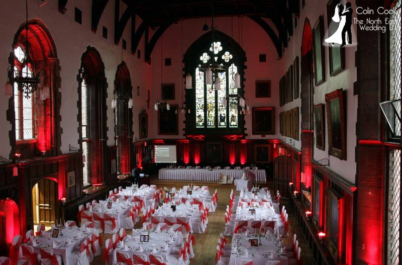 The Great Hall at Durham Castle set for a wedding with Uplighting from Colin Cook