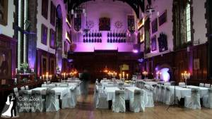 The Great Hall at Durham Castle with Purple Uplighting (Moodlighting) for a wedding