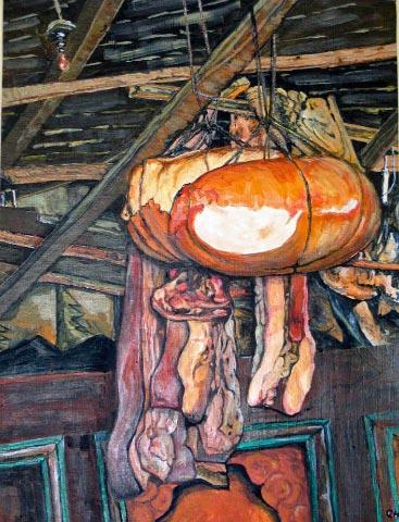 Tibetan House interior with dried meats (after Van Gogh's