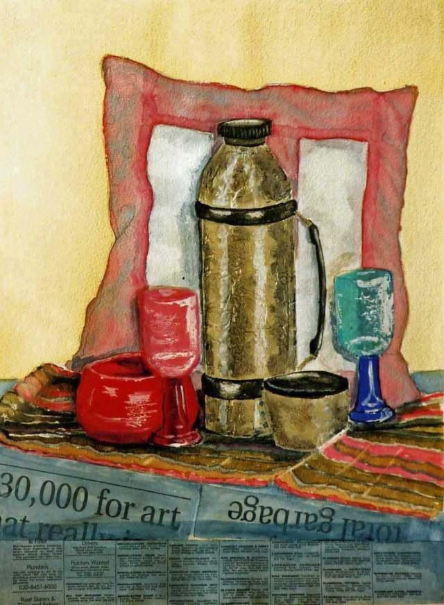 Still Life (watercolour, plastic, foil and newspaper)