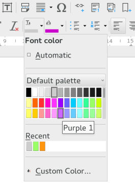Dropdown colour selection menu