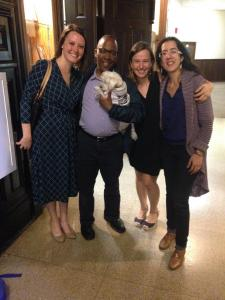 Faculty member Howard Watkins with one of our amazing singers, Dr. Amy Petrongelli, Charlie (the official mascot of CPI), Elena Lacheva and Ana Maria Otamendi