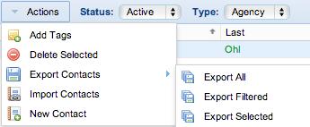 Screenshot: Export Contact Options