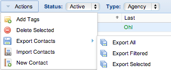 Screenshot: Export Contact Options