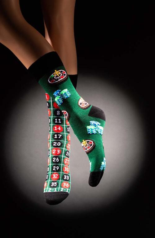 Veselé pánské ponožky ruleta Casino zelenočerné