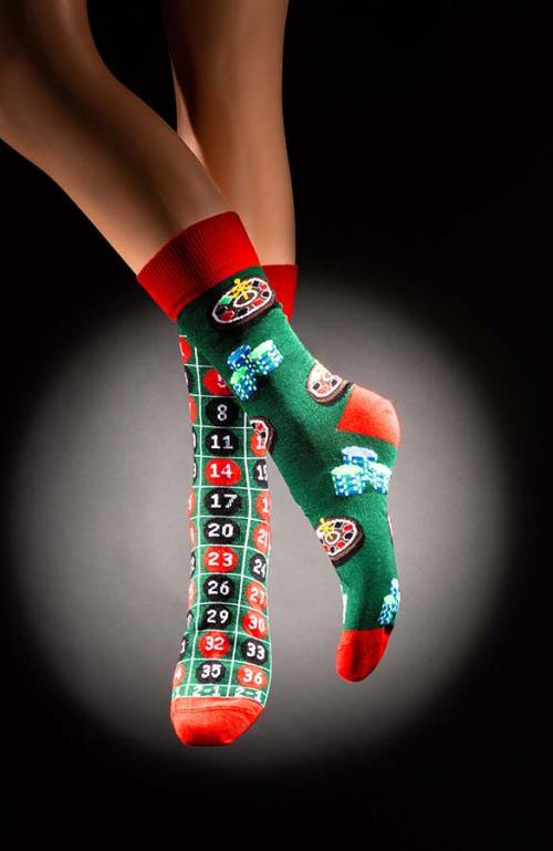 Veselé pánské ponožky ruleta Casino zelenočervené