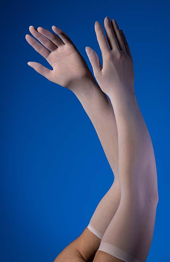 Silonkové dlouhé rukavice Manilla bílé