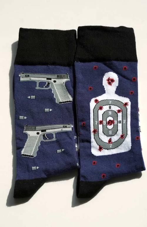 Veselé pánské ponožky pistole terč hitman modro černé