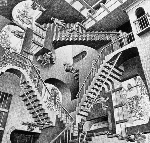 MC Escher Relativity - fair use for discussion of artist - via Wikipedia