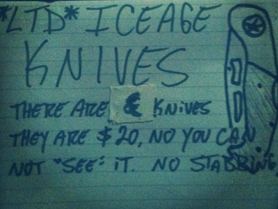 iceage - knives sign
