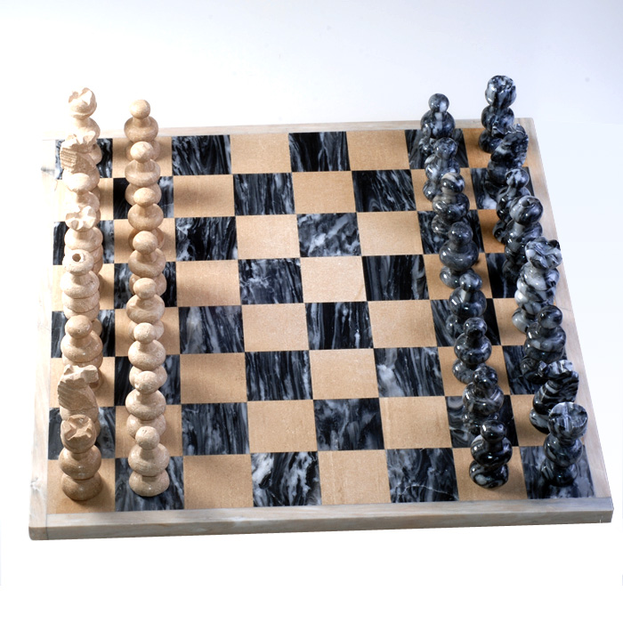 135x135 Hand Carved Marble And Stone Chess Set