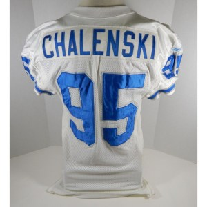 1995 Detroit Lions Mike Chalenski _Number_95 Game Used White Jersey DP06937