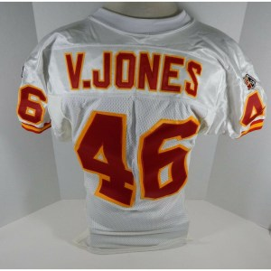1995 Kansas City Chiefs Victor Jones _Number_46 Game Used White Jersey DP06115