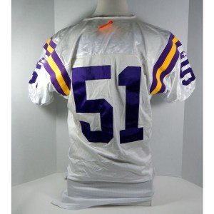 1995 Minnesota Vikings Broderick Thomas _Number_51 Game Issued White Jersey