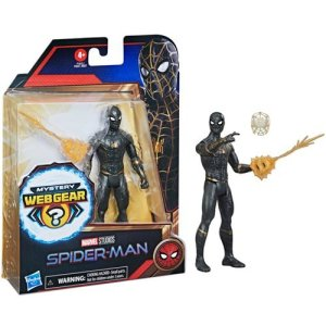 Spider-Man: No Way Home 6-Inch Mystery Web Gear Upgraded Black and Gold Suit Spider-Man Action Figure