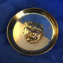 Brass pin dish with chased out bulldog head