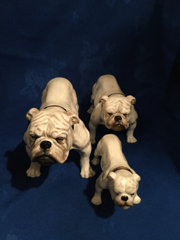Set of 3 White Doulton Bulldogs