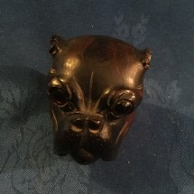Wooden treen bulldog head ink well 2