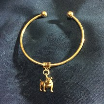 Silver bulldog bangle