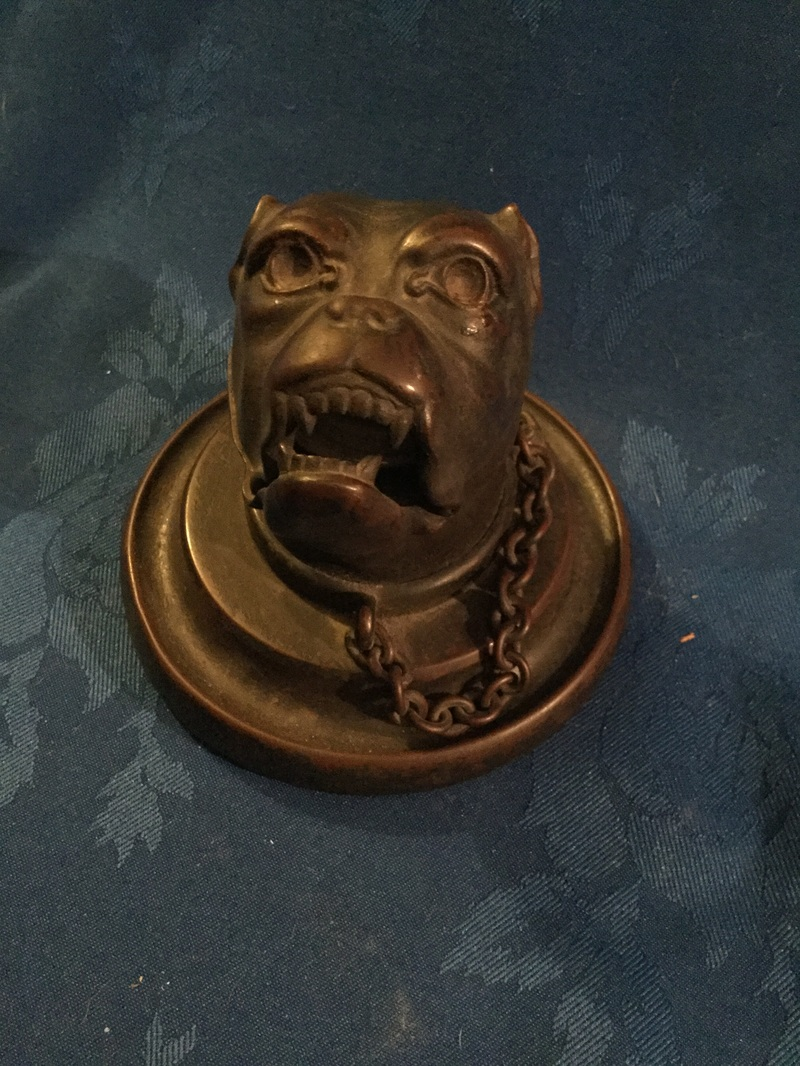 Vintage bronze bulldog head inkwell
