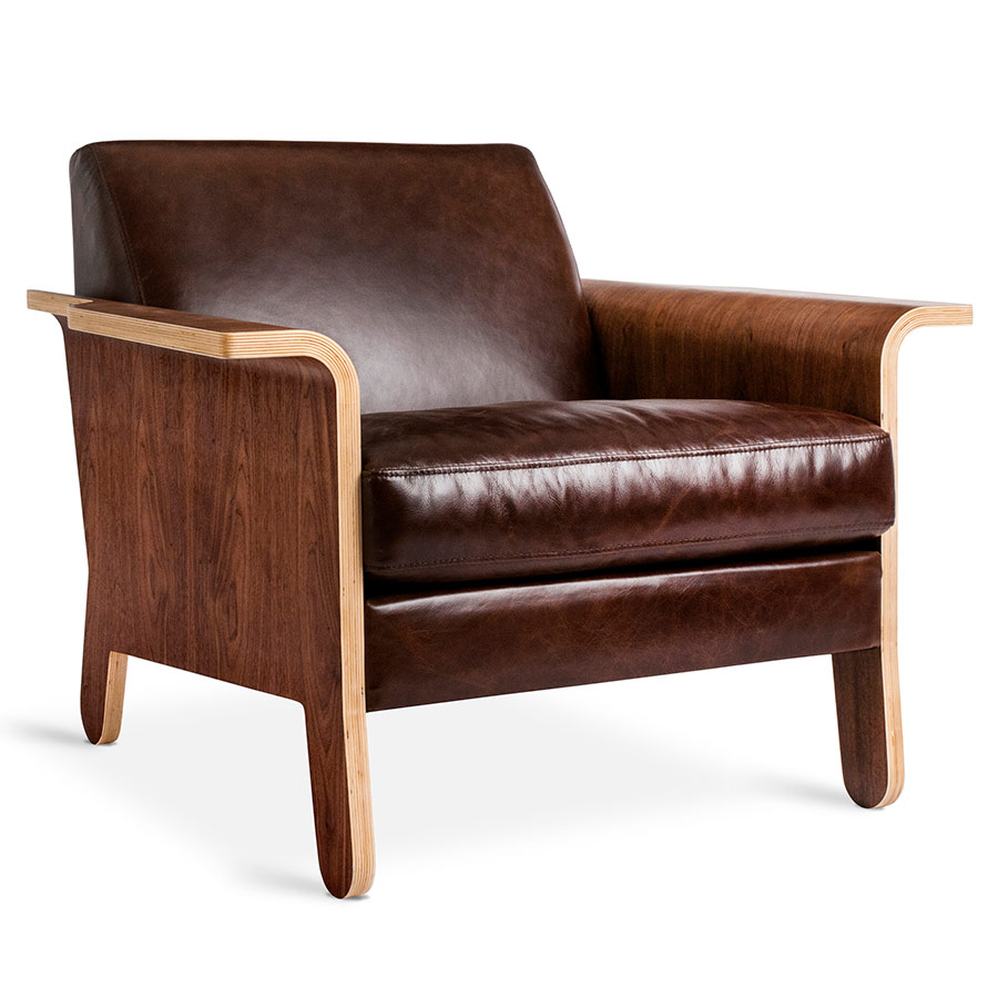 leather chair modern kids chairs ikea gus lodge chestnut brown eurway