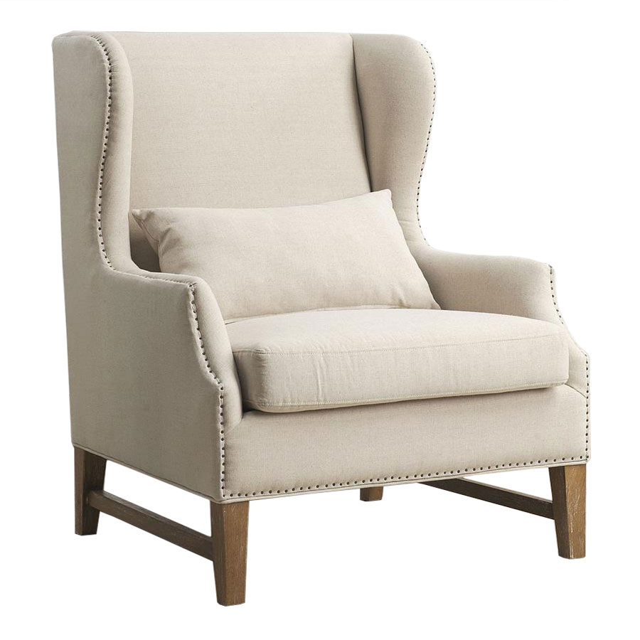 Duval Beige Linen Wing Back Chair  Collectic Home
