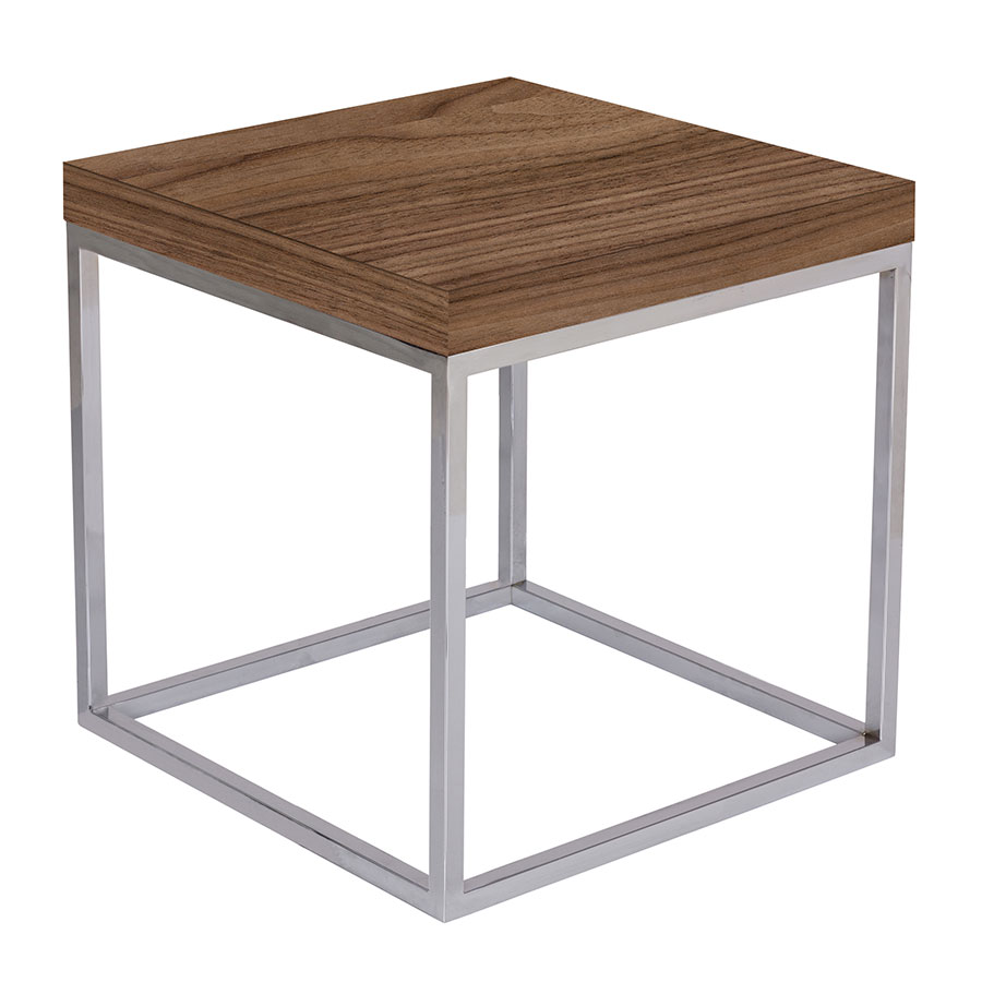 Prairie Walnut + Chrome Modern End Table by TemaHome
