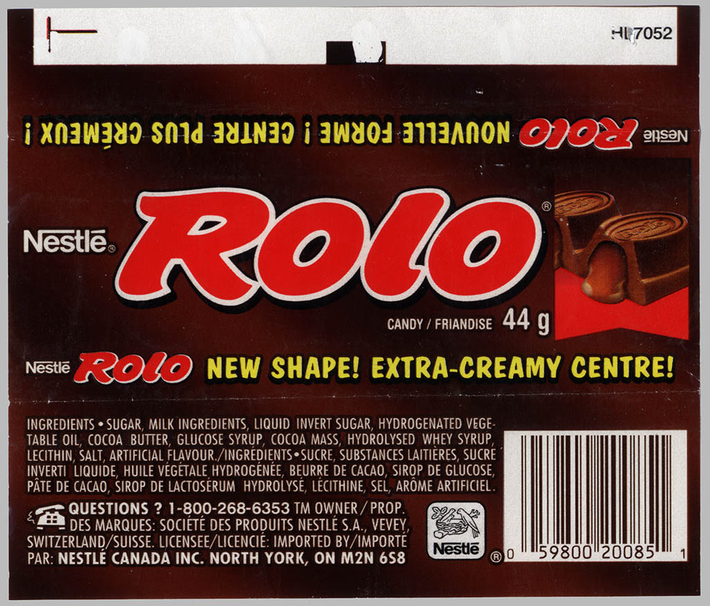 CC_Canada  Nestle  Rolo  New Shape Extra Creamy  roll candy wrapper  1990s