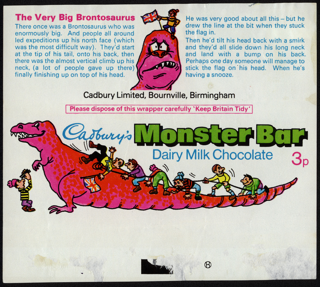 Brontosaurus as researchers imagined it in the late 1800s, on a chocolate wrapper