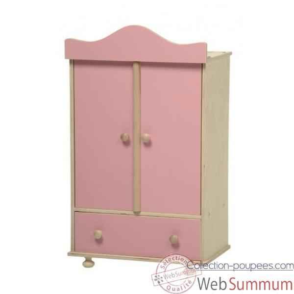 armoire en bois vetements poupee rose 0760r