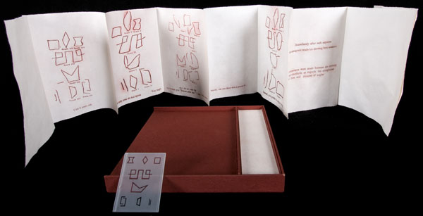 In the background, a white with red text unfolded accordion book is standing upright. In the foreground, is an open red box, showing two empty sections, a large portion of red interior on the left and smaller portion of white interior on the right. Leaning on the box is a rectangular translucent glass plate with various symbols on it.