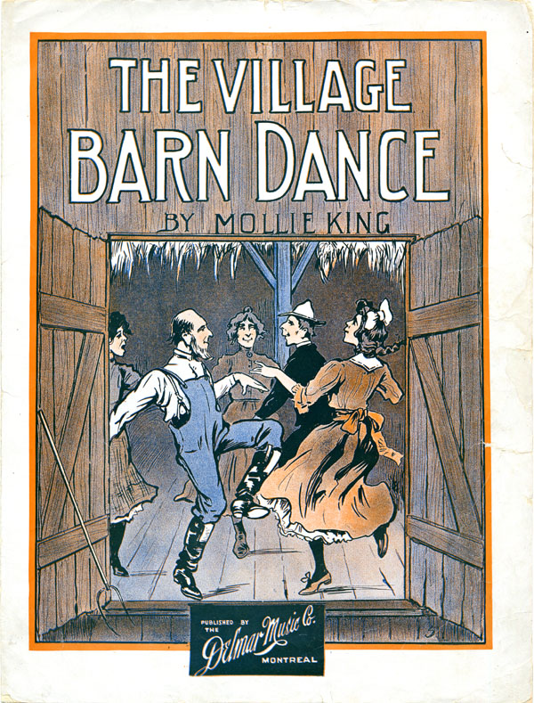 Colour image depicting people dancing in a barn.
