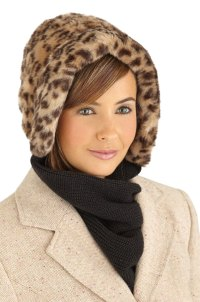 Faux Fur Winter Hat with Attached Scarf, by Collections