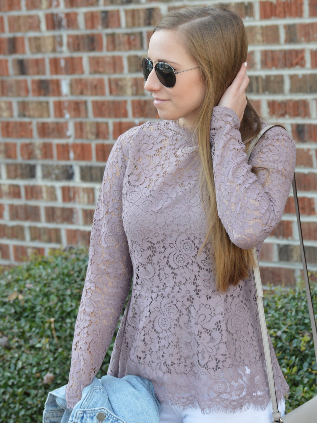 Lace Peplum Top with Aviators