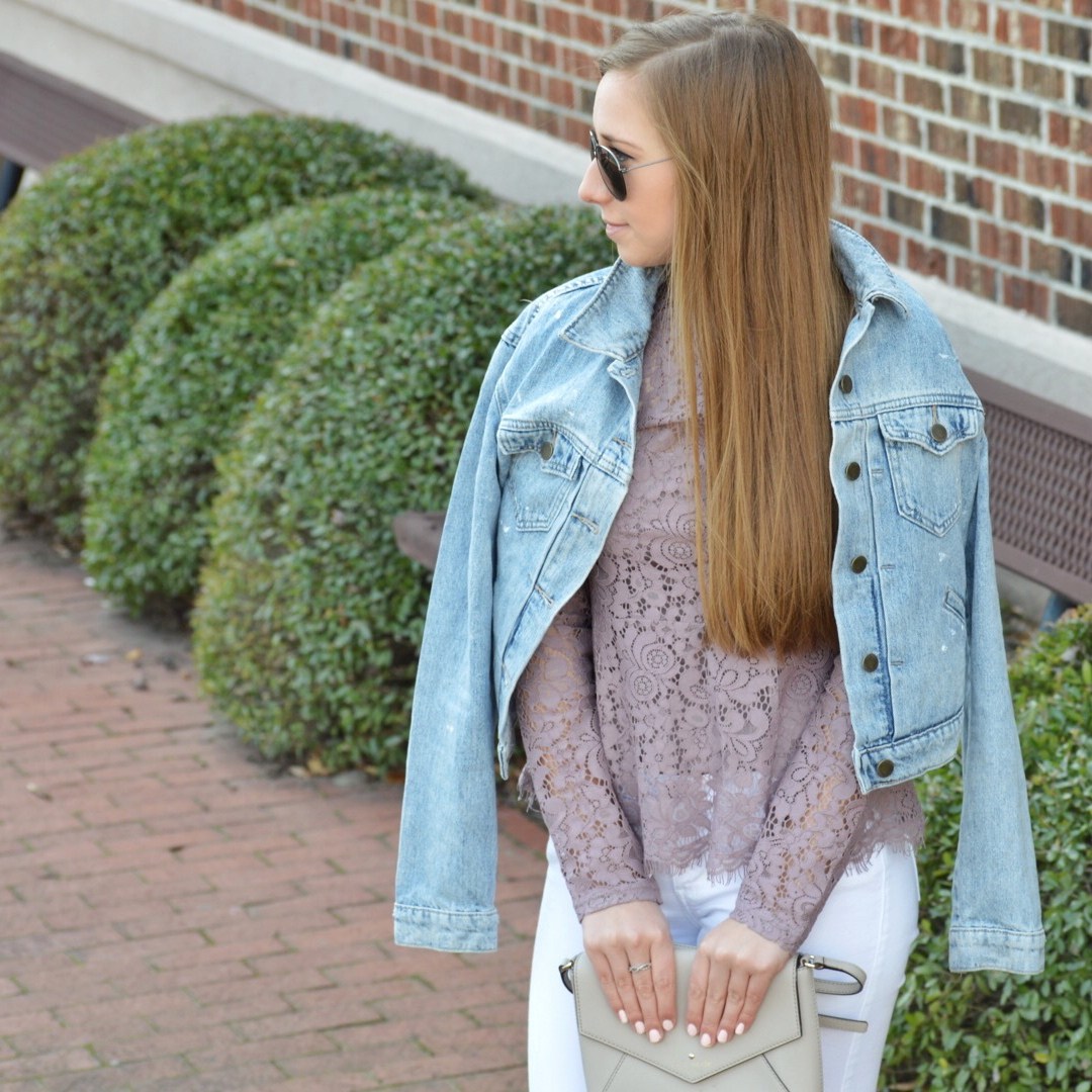 Lace Peplum Top with Jean Jacket
